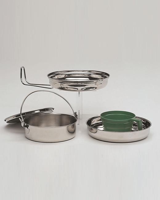 camping koch geschirr 1 pers edelstahl geschirr camping outdoor neu ebay. Black Bedroom Furniture Sets. Home Design Ideas